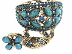 Blue Butterfly Bracelet Slave W Ring Crystal Gold Plated Women NEW #Unbranded…