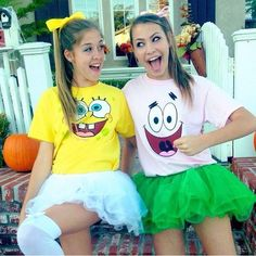 Hallowen Costume Couples Spongebob and Patrick cute teen Halloween costume Cute Halloween Costumes For Teens, Best Friend Halloween Costumes, Hallowen Costume, Diy Halloween, Halloween Duos, Teen Girl Costumes, Halloween Costumes For Twins, College Costumes, Twin Costumes