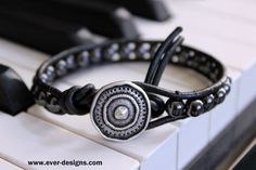 Hematite Boho Leather Wrap Bracelet Steel by EverDesignsJewelry