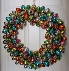 """Large 25"""" handmade easter egg #wreath #multi color #spring plastic shiny eggs hug,  View more on the LINK: http://www.zeppy.io/product/gb/2/272494896842/"""