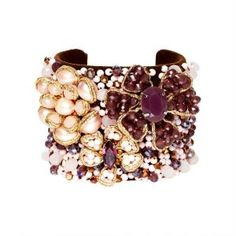 Flower Cuff in Plum and Pink