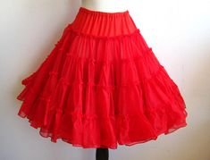 312e872f8a Vintage Can Can Girl Cherry Red Nylon Tulle Full Circle Skirt Crinoline  Petticoat