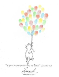 Teddy Bear being lifted by Balloons Fingerprint by PTWatersDesigns, $18.00