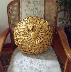 Vintage Gold Satin Smocked Pleated Pillow Cushion by brownmouse60