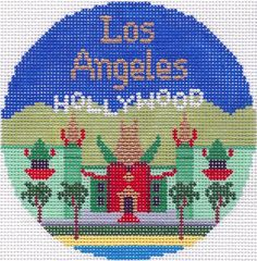"""Silver Needle Los Angeles handpaint 4.25"""" Rd. Needlepoint Canvas Ornament"""