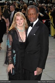 Joanna Shimkus & Sidney Poitier ~ 36 years    Sidney first met his actress wife in 1969 in Paris and they started dating. They later got married in 1976. The Poitier' maintain a low-profile outside of their humanitarian activities