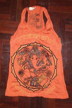 Women's T shirt FREE SIZE S/M ONLY Ganesha Hindu OM Sign Hamsa Hand Yoga Clothing Buddha T-shirt Yoga Tee