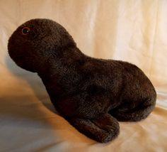 Dark Brown Plush Seal Stuffed Animal 1960s ? 1970s ?