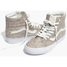 MADEWELL Vans® Unisex SK8-Hi High-Top Sneakers in Glitter ($70) ❤ liked on Polyvore featuring shoes, sneakers, glitter, sparkle high top sneakers, sparkly high tops, glitter sneakers, sparkly shoes and rubber sole sneakers