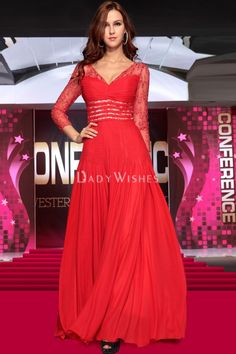 red a-line chiffon prom dress with v-neck and sheer jacket long sleeve