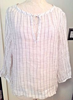 EILEEN FISHER Size Large Linen Peasant Blouse Tunic Top Natural #EileenFisher…