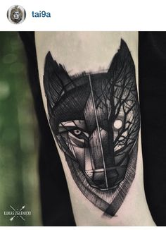Wolf tattoo by Lukas Zglenicki, Poland.