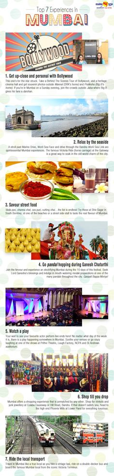 Check out the top 7 experiences in Mumbai, India #travel #ideas #infographic