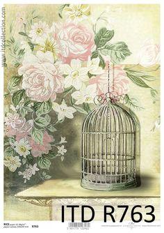 Rice Paper for Decoupage, Scrapbook Sheet, Craft Vintage Bird Cage Album Vintage, Vintage Scrapbook, Vintage Ephemera, Vintage Paper, Decoupage Tissue Paper, Tissue Paper Crafts, Decopage, Shabby, Scrapbooking
