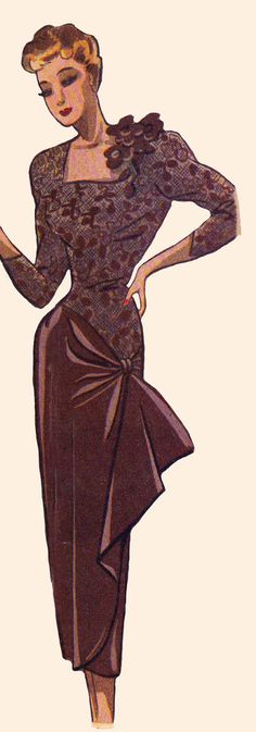 Vintage Sewing Pattern 1940's Cocktail Dress in Any by Mrsdepew