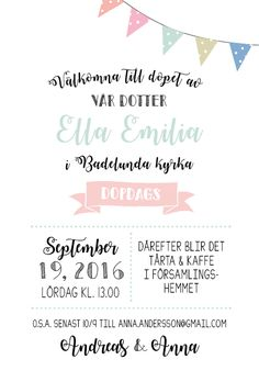 Vimplar dop Invitation Design, Invitation Cards, Invitations, Hang Tags, Christening, Diy And Crafts, Anna, Creative, Blog