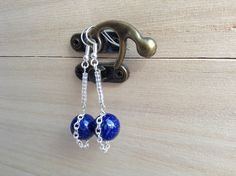 Lapis Lazuli Earrings With Seed Beads And Chain, Dark Royal Blue Earrings, Modern Clip On, Healing Jewellery, Boho Earrings, Hippie Earrings by MadeByMissM on Etsy