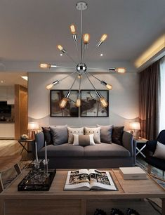 Modern chandelier for living room iconic chandelier design sputnik Chandelier In Living Room, Sputnik Chandelier, Modern Chandelier, Living Room Lighting, Pendant Lamps, Bedroom Lighting, Living Room Grey, Living Room Decor, Interior Lighting