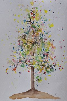 watercolour tree - Way easier to do with your kid than you think!- autumn bloom
