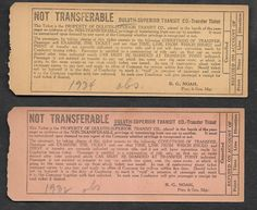 Backs of streetcar transfers from Duluth (Minnesota)-Superior (Wisconsin) Transit Co.