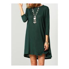 SheIn(sheinside) Dark Green Round Neck Cut Out Casual Dress (€9,02) ❤ liked on Polyvore featuring dresses, green, short-sleeve shift dresses, 3/4 sleeve dress, green dress, cut out dress and sleeved dresses