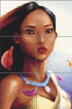 Plantilla Hama Pocahontas (Mosaicos) www.tuburbuja.es