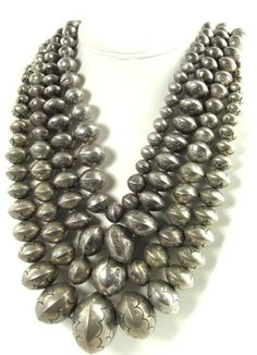One Vintage Old Pawn Silver Bead Native American Necklace 1940s-1960s