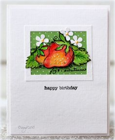 Here´s my card for the color challenge at CAS Colours & Sketches blog this week! I thought of strawberries when I saw the colors :) Used this lovely stamp from Magenta Strawberries Here are the colors