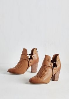 Impossible Bootie by Seychelles - Brown, Solid, Woven, Safari, Festival, Best, Chunky heel, Ankle, Mid, Leather