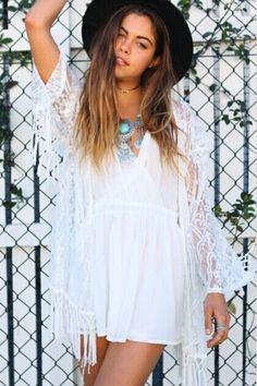 Sweet Crochet Lace Tassels-Trim Kimono - OASAP.com