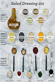 I love making my own salad dressings, here is an easy guideline I found but don't hesitate to be creative.