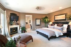 Master bedroom layout with fireplace in the corner :)