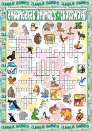English worksheet: Endangered Animals - Crossword