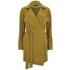 VILA Women's Soft Drape Mac Coat - Harvest Gold ($76) ❤ liked on Polyvore featuring outerwear, coats, yellow, draped trench coat, lightweight coat, tie belt, lightweight trench coat and brown coat