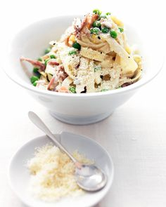 Pasta with Prosciutto and Peas: Prosciutto is easier to slice when it's cold. Stack slices, and cut crosswise with a sharp knife.
