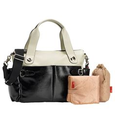 Storksak Kate Colorblock Diaper Bag - Stone And Black | www.duematernity.com
