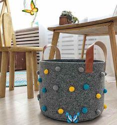 wwwxtwo46  <br> Baby Storage, Nursery Storage Baskets, Basket Storage, Lego Storage, Baby Car Mirror, Felt Gifts, Laundry Hamper, How To Make A Pom Pom, Cute Gifts