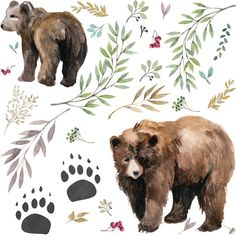 Bear Fabric - Watercolor Mama Bear Cub In The Woods By Shopcabin - Woodland Bear Cotton Fabric By The Yard With Spoonflower