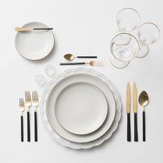 Signature Collection Chargers + Heath Ceramics in Opaque White + Axel Flatware in 24k Gold/Matte Black + Gold Rimmed Stemware + Antique Crystal Salt Cellars | Casa de Perrin Design Presentation