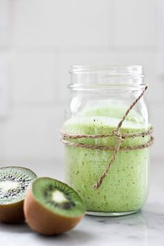 feasting at home: Avocado Smoothie with Kiwi and Lime perfectly ripe large avocado 2 kiwi- peeled C lime juice + 1 T C Almond milk, soy milk, coconut milk, aloe juice, fruit juice- just enough to get the blender going. honey to taste Avocado Smoothie, Smoothies Kiwi, Juice Smoothie, Smoothie Drinks, Smoothie Bowl, Healthy Smoothies, Healthy Drinks, Healthy Snacks, Healthy Recipes