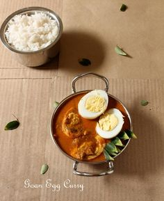 Classic Red Goan Egg Curry tastes great with steamed rice Or pao!