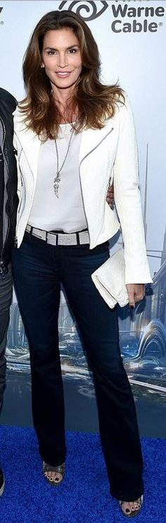 Who made Cindy Crawford's white leather jacket?