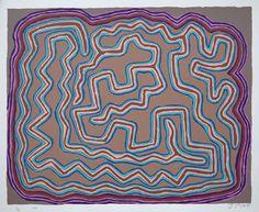 Jimmy Pike, Larripuka 1, silkscreen, 50 x 40 cm. Japingka Gallery, Perth.