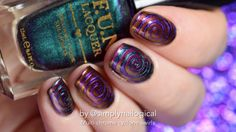 Multi-chrome cyclone swirl trippy nail art