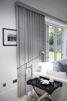 Curtains on Wave Tracks.,Ripple fold curtains on tracks over bifold doors Curtain monitor or curtain pole? The most common types of fastening for curtains are rods and rails. Curtains For Bifold Doors, Curtains Uk, Ceiling Curtains, Luxury Curtains, Curtains Living, Curtains With Blinds, Wood Blinds, Curtains For Big Windows, S Wave Curtains