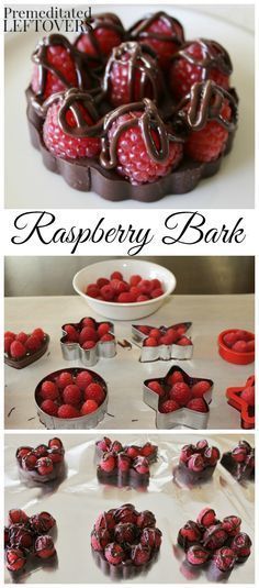 Quick and Easy Chocolate Raspberry Bark Recipe. It just requires 2 ingredients: … Quick and Easy Chocolate Raspberry Bark Recipe. It just requires 2 ingredients: dark chocolate and fresh raspberries. use cookie cutter to make fun shapes! Candy Recipes, Sweet Recipes, Dessert Recipes, Simple Recipes, Fun Recipes, Holiday Recipes, Cookie Recipes, Holiday Drinks, Holiday Desserts