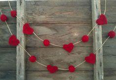 Valentine garland Felt Red hearts red balls Window decor Home decoration wool wall hanging Banner Needle Felt wedding banner love gift idea