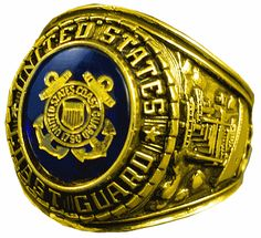 dcc08a372e1 This US Coast Guard Gold Plated Ring has a Heavy Gold Electroplate and a  Gold Logo etched into a Austrian Crystal stone. It is made in the USA and  comes ...