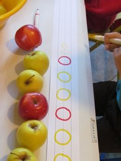 using apples to teach patterns, great idea to do in conjunction with snack time!