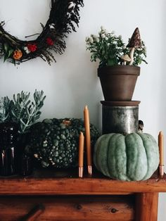 funky little pumpkins on a mantel
